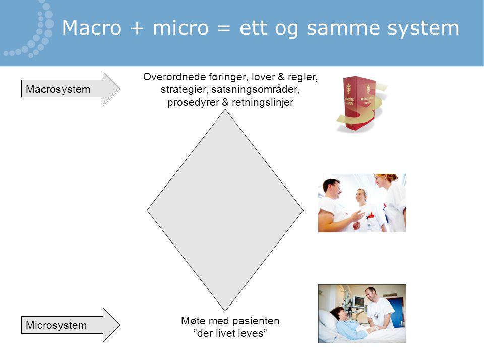 Overordnede føringer, lover & regler, strategier, satsningsområder, prosedyrer & retningslinjer Møte med pasienten der livet leves Macrosystem Microsystem Macro + micro = ett og samme system