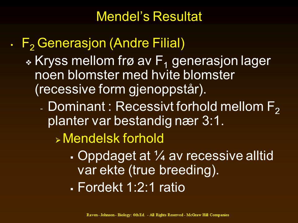 Raven - Johnson - Biology: 6th Ed. - All Rights Reserved - McGraw Hill Companies Mendel's Resultat • F 2 Generasjon (Andre Filial)  Kryss mellom frø