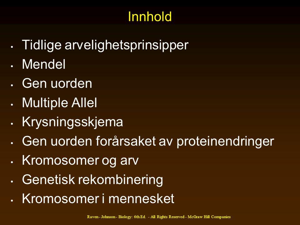 Mendelsk arv • Dihybrid Kryss  nedarving av to egenskaper, f.eks.