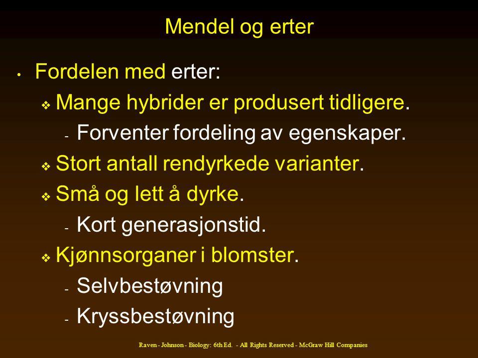 Mendel og erter • Fordelen med erter:  Mange hybrider er produsert tidligere. - Forventer fordeling av egenskaper.  Stort antall rendyrkede variante