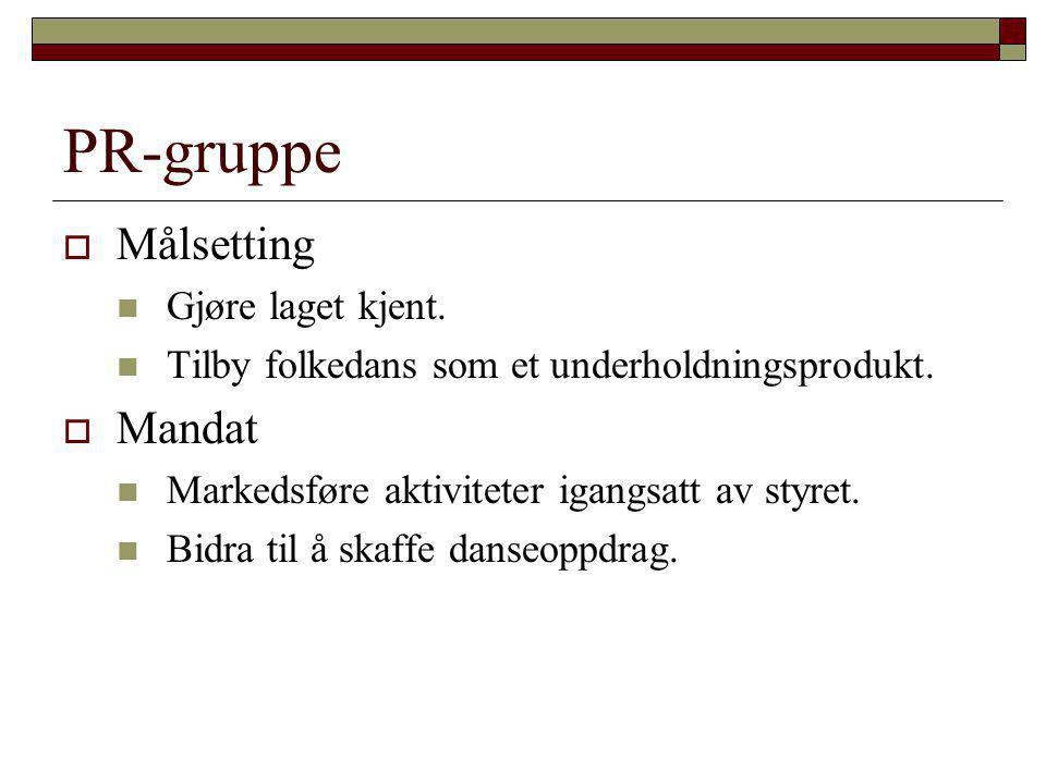 PR-gruppe  Målsetting  Gjøre laget kjent.  Tilby folkedans som et underholdningsprodukt.  Mandat  Markedsføre aktiviteter igangsatt av styret. 