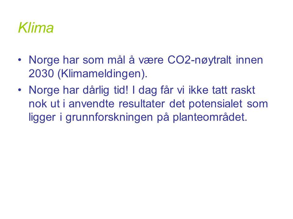 Klima •Norge har som mål å være CO2-nøytralt innen 2030 (Klimameldingen).