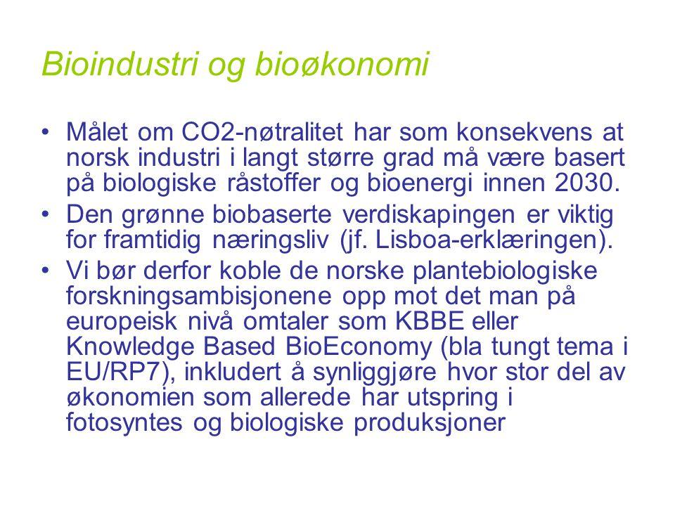 Bioindustri og bioøkonomi •Målet om CO2-nøtralitet har som konsekvens at norsk industri i langt større grad må være basert på biologiske råstoffer og bioenergi innen 2030.
