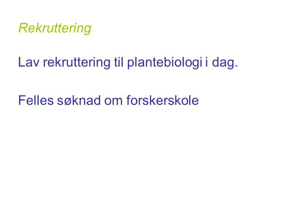 Rekruttering Lav rekruttering til plantebiologi i dag. Felles søknad om forskerskole
