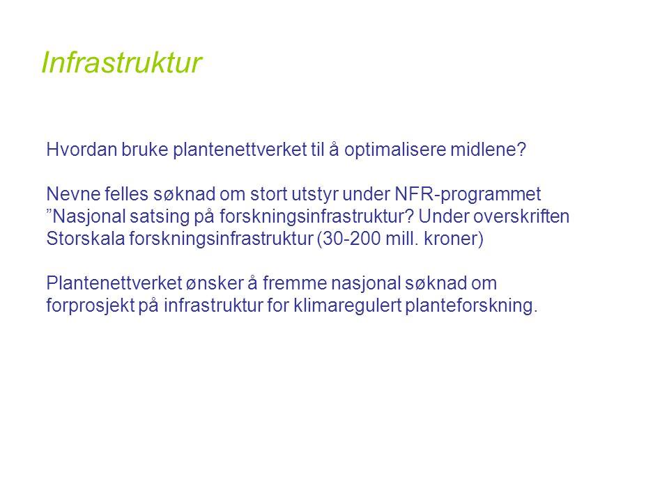 Infrastruktur Hvordan bruke plantenettverket til å optimalisere midlene.