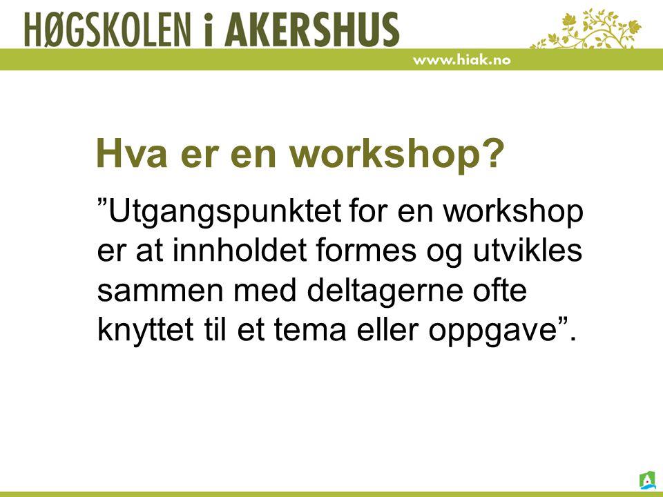 "Hva er en workshop? ""Utgangspunktet for en workshop er at innholdet formes og utvikles sammen med deltagerne ofte knyttet til et tema eller oppgave""."