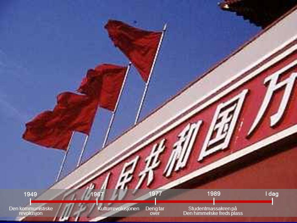 Deng tar over 1989I dag Studentmassakren på Den himmelske freds plass 1977 1967 Kulturrevolusjonen 1949 Den kommunistiske revolusjon