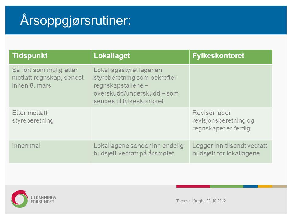 Årsoppgjørsrutiner: TidspunktLokallagetFylkeskontoret Så fort som mulig etter mottatt regnskap, senest innen 8.