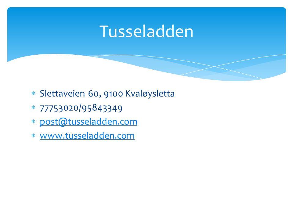  Slettaveien 60, 9100 Kvaløysletta  77753020/95843349  post@tusseladden.com post@tusseladden.com  www.tusseladden.com www.tusseladden.com Tusselad