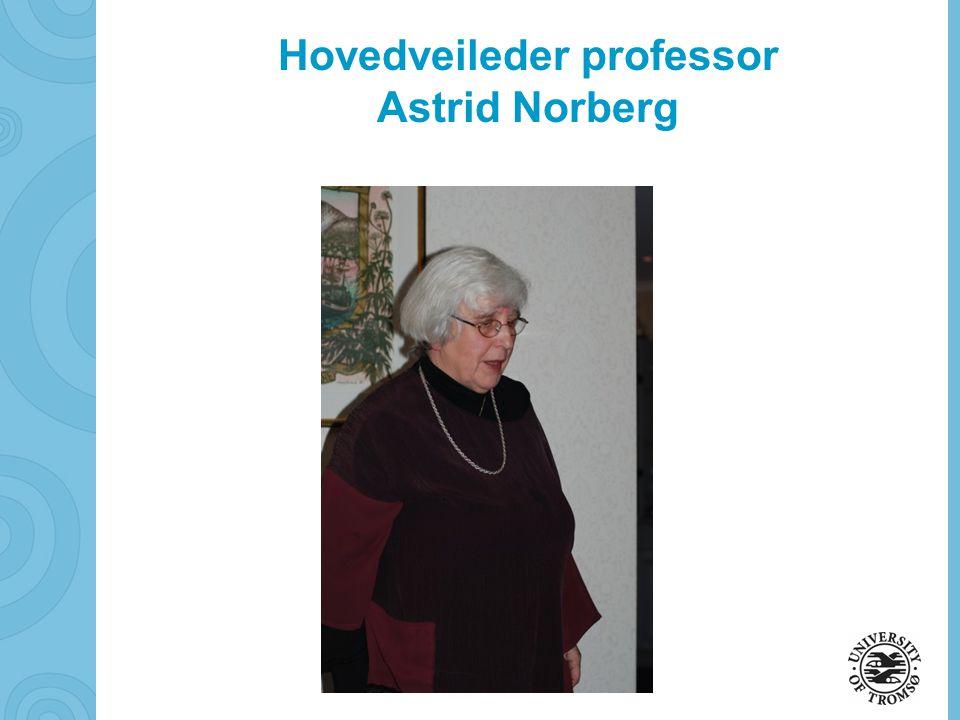 soerbye@diakonhjemmet.no Hovedveileder professor Astrid Norberg