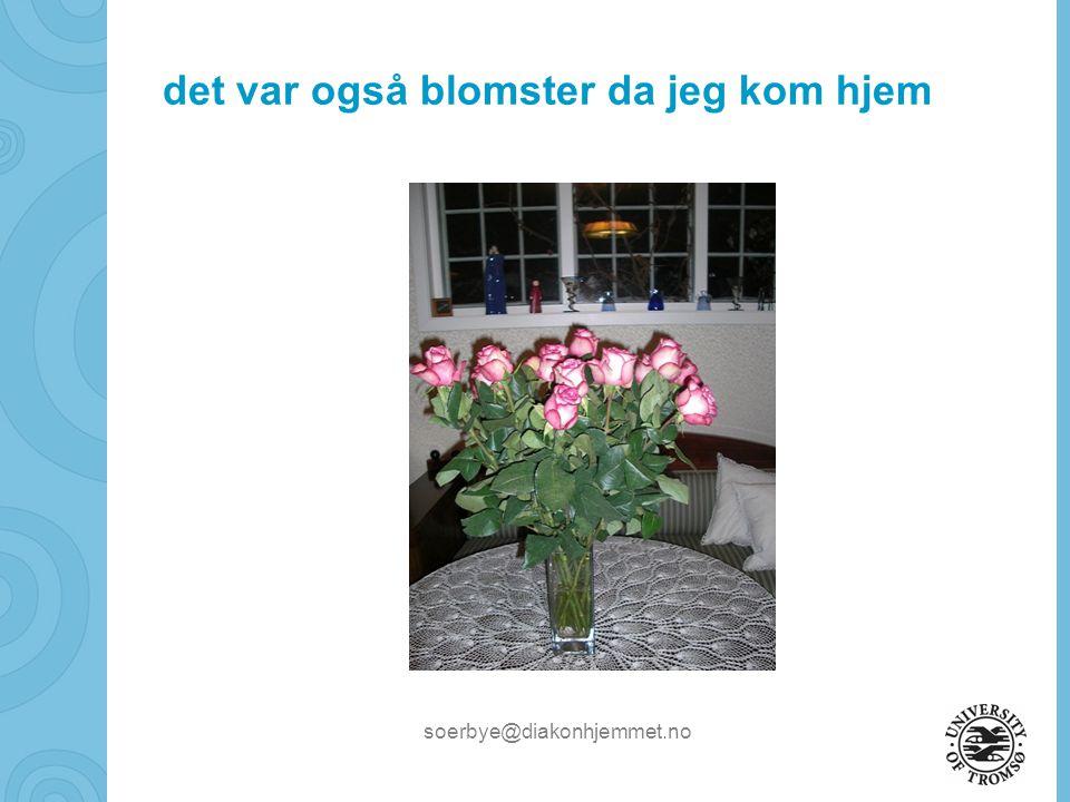 soerbye@diakonhjemmet.no det var også blomster da jeg kom hjem