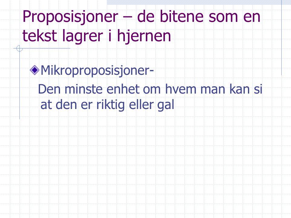 Proposisjoner – de bitene som en tekst lagrer i hjernen Mikroproposisjoner- Den minste enhet om hvem man kan si at den er riktig eller gal