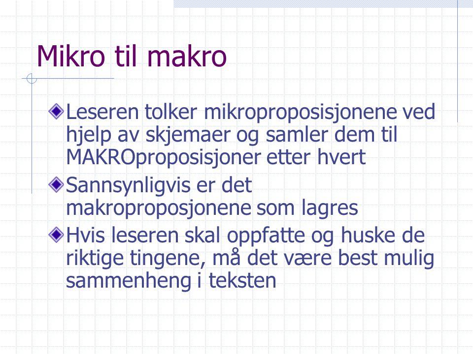 Mikro til makro Leseren tolker mikroproposisjonene ved hjelp av skjemaer og samler dem til MAKROproposisjoner etter hvert Sannsynligvis er det makropr
