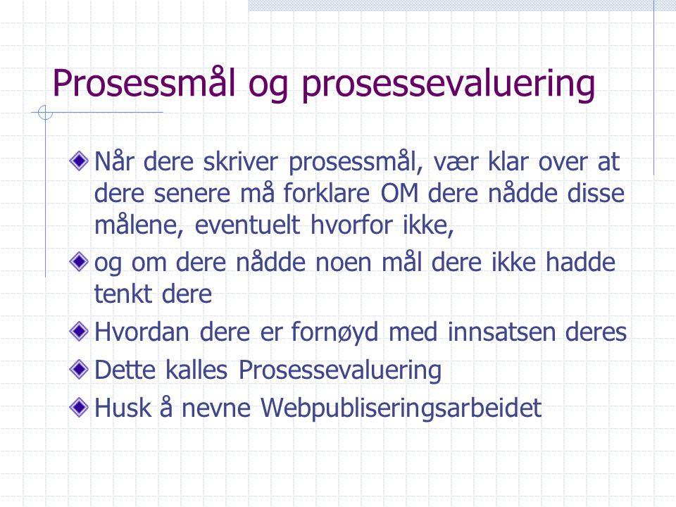 Prosessmål og prosessevaluering Når dere skriver prosessmål, vær klar over at dere senere må forklare OM dere nådde disse målene, eventuelt hvorfor ik