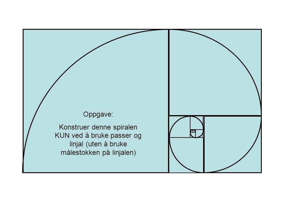 Oppgave: Konstruer denne spiralen KUN ved å bruke passer og linjal (uten å bruke målestokken på linjalen)