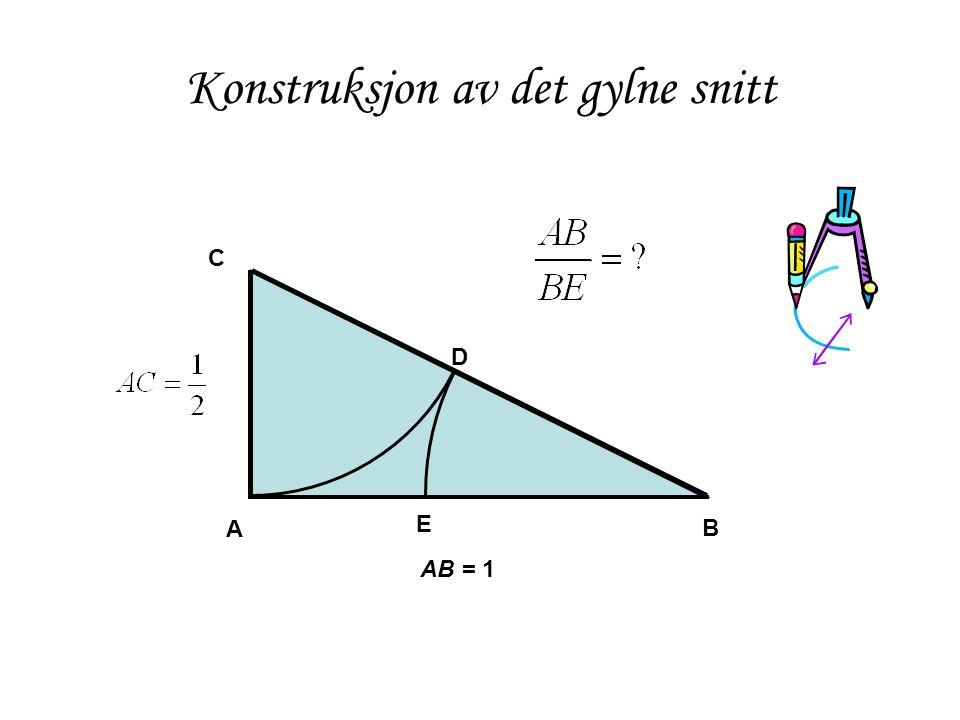 Konstruksjon av det gylne snitt A B C AB = 1 E D