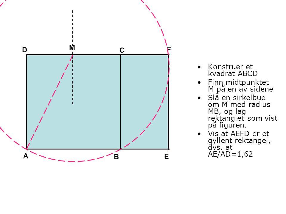 •Konstruer et kvadrat ABCD •Finn midtpunktet M på en av sidene •Slå en sirkelbue om M med radius MB, og lag rektanglet som vist på figuren. •Vis at AE