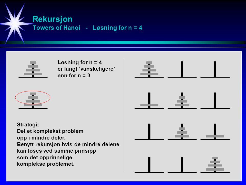 Rekursjon Towers of Hanoi - Løsning for n = 4 Løsning for n = 4 er langt 'vanskeligere' enn for n = 3 Strategi: Del et komplekst problem opp i mindre