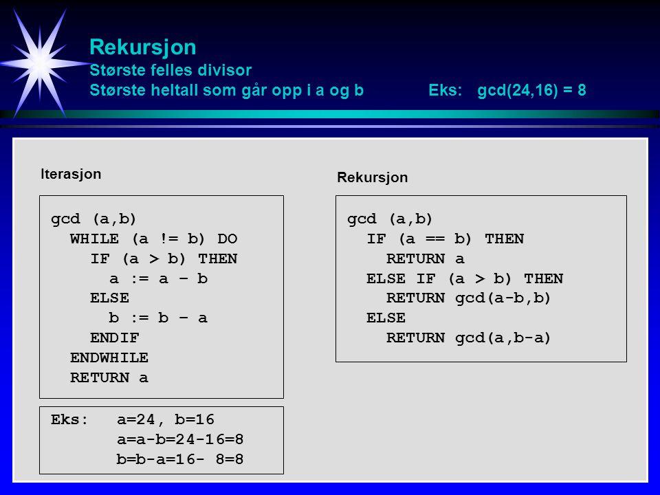 Rekursjon Største felles divisor Største heltall som går opp i a og b Eks: gcd(24,16) = 8 gcd (a,b) WHILE (a != b) DO IF (a > b) THEN a := a – b ELSE