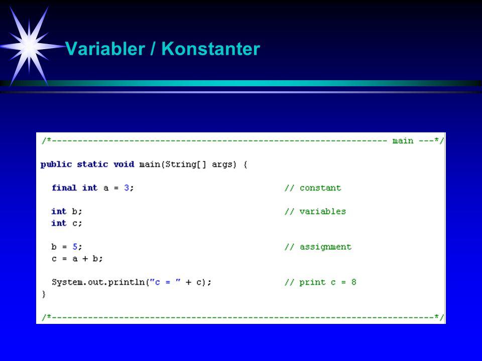 Primitive datatyper DatatypeByteMinMaxWrapper byte1-2 7 = 1282 7 -1 = 127Byte short2-2 15 = -327682 15 -1= 32767Short int4-2 31 2 31 -1Integer long8-2 63 2 63 -1Long float41.4… x 10 -45 3.4… x 10 38 Float double84.9… x 10 -324 1.7… x 10 308 Double char20x00xffffCharacter boolean(false/true)Boolean
