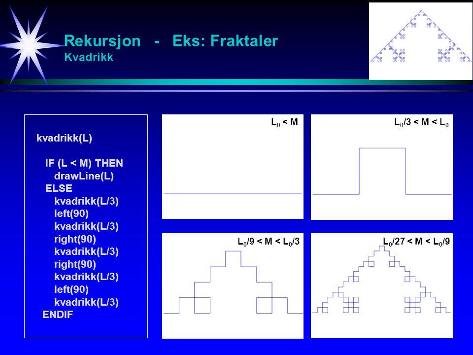 Rekursjon - Eks: Fraktaler Kvadrikk kvadrikk(L) IF (L < M) THEN drawLine(L) ELSE kvadrikk(L/3) left(90) kvadrikk(L/3) right(90) kvadrikk(L/3) right(90
