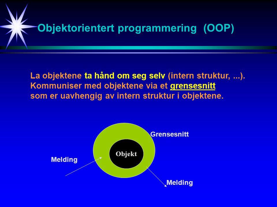 Objektorientert programmering (OOP) La objektene ta hånd om seg selv (intern struktur,...). Kommuniser med objektene via et grensesnitt som er uavheng