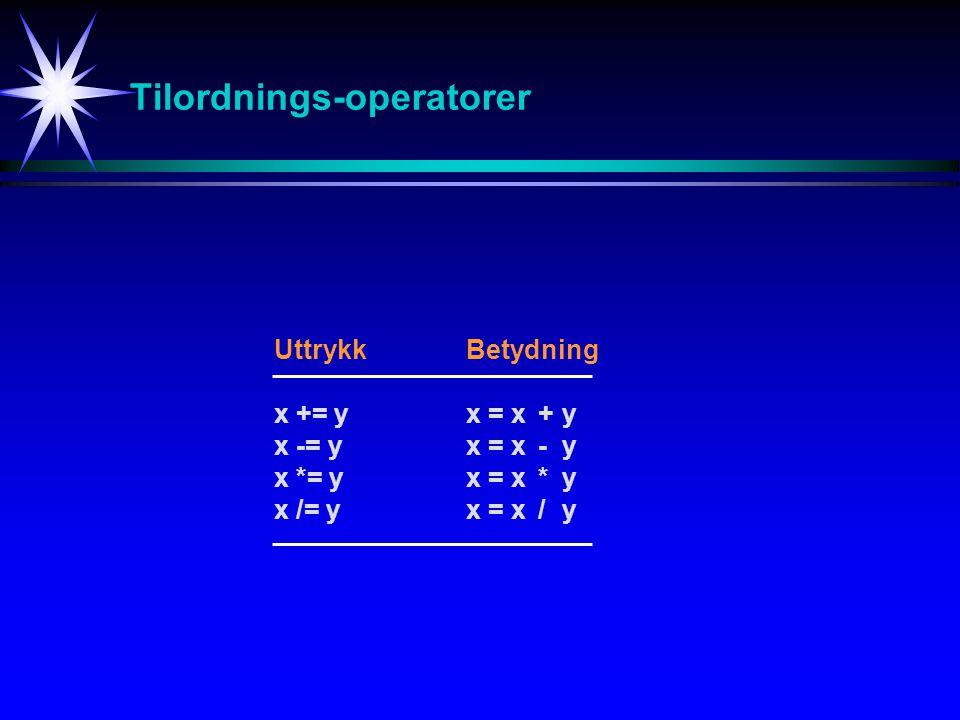 Tilordnings-operatorer UttrykkBetydning x += yx = x+ y x -= yx = x - y x *= yx = x * y x /= yx = x / y