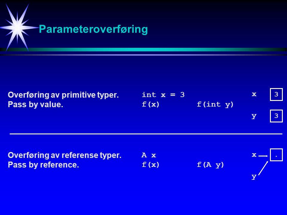 Parameteroverføring Overføring av primitive typer. Pass by value. Overføring av referense typer. Pass by reference. int x = 3 f(x) f(int y) 3 3 x y A