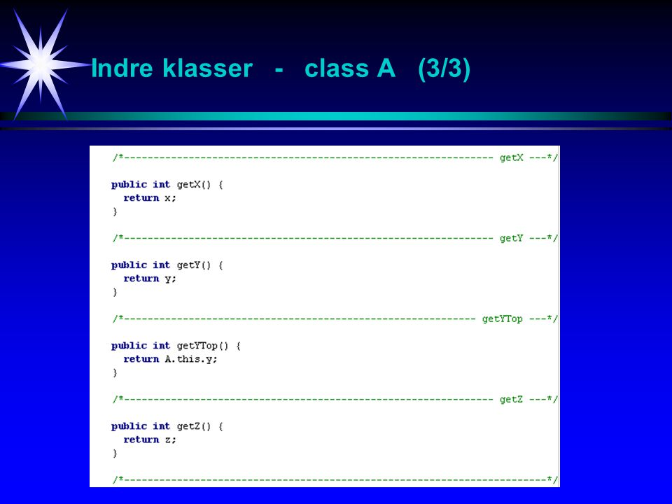 Indre klasser - class A (3/3)