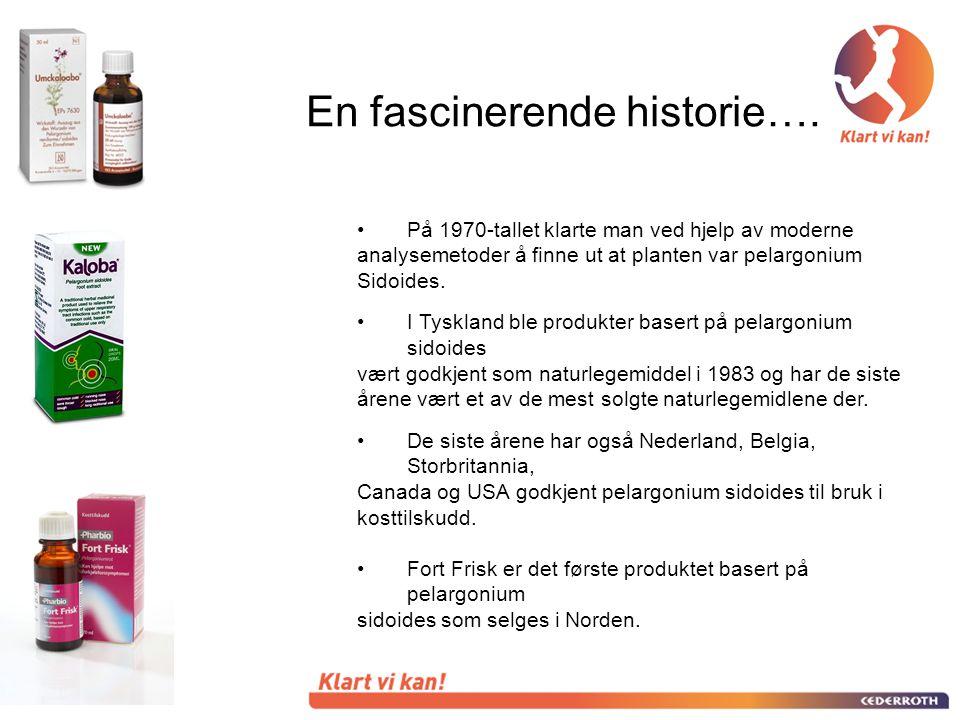 •På 1970-tallet klarte man ved hjelp av moderne analysemetoder å finne ut at planten var pelargonium Sidoides. •I Tyskland ble produkter basert på pel