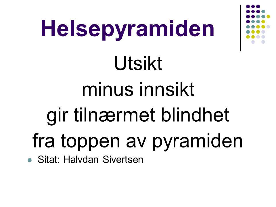 Helsepyramiden Utsikt minus innsikt gir tilnærmet blindhet fra toppen av pyramiden  Sitat: Halvdan Sivertsen