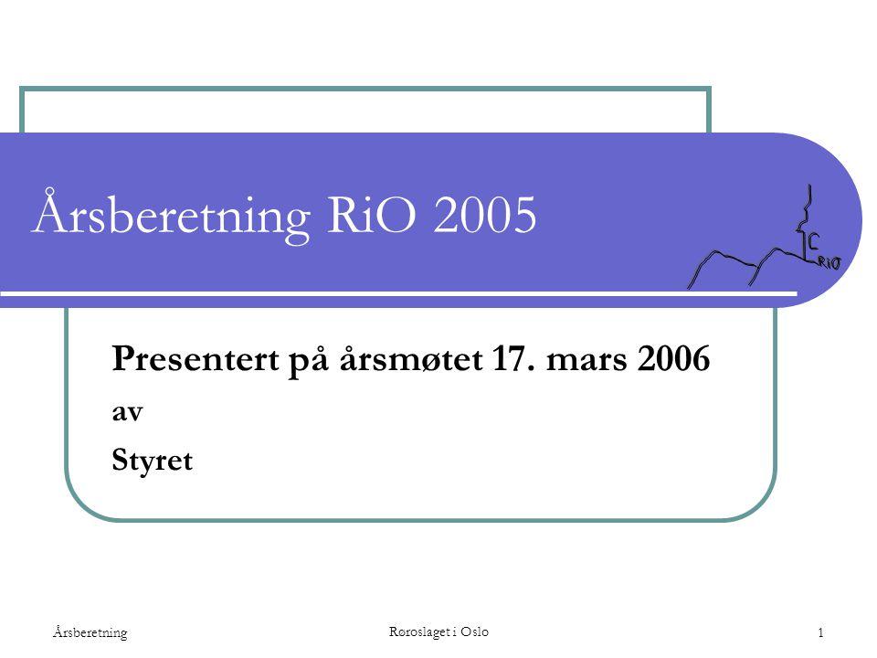 Årsberetning Røroslaget i Oslo 1 Årsberetning RiO 2005 Presentert på årsmøtet 17. mars 2006 av Styret