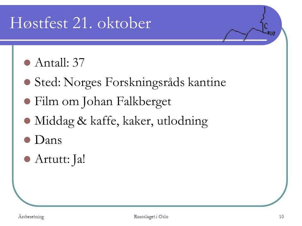 ÅrsberetningRøroslaget i Oslo10 Høstfest 21. oktober  Antall: 37  Sted: Norges Forskningsråds kantine  Film om Johan Falkberget  Middag & kaffe, k