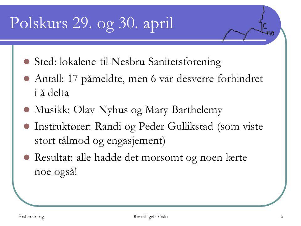 ÅrsberetningRøroslaget i Oslo6 Polskurs 29. og 30. april  Sted: lokalene til Nesbru Sanitetsforening  Antall: 17 påmeldte, men 6 var desverre forhin