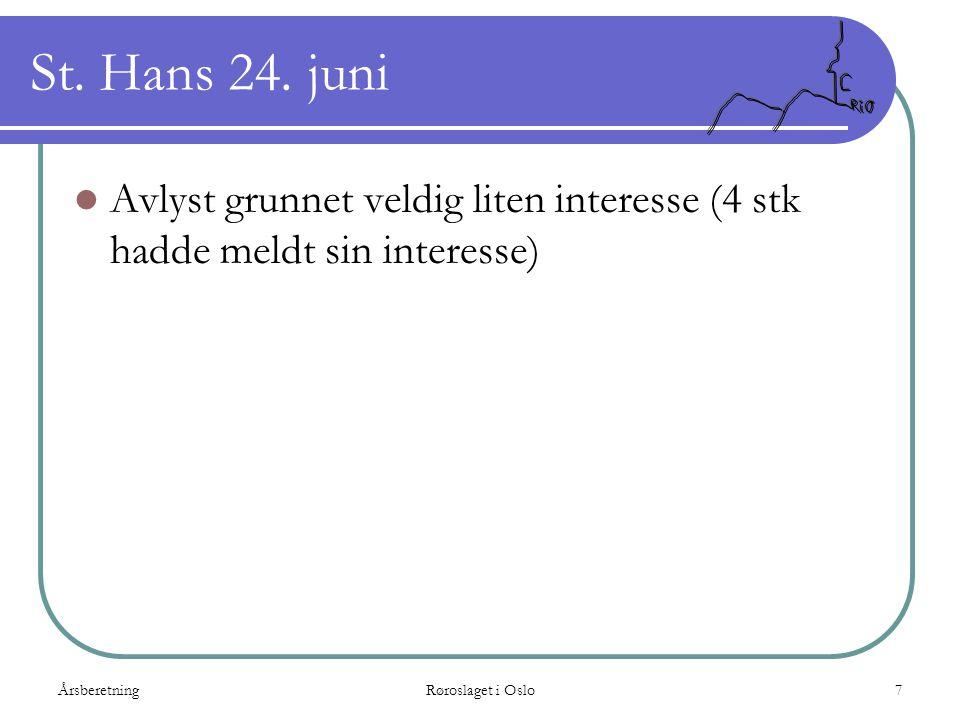 ÅrsberetningRøroslaget i Oslo7 St. Hans 24. juni  Avlyst grunnet veldig liten interesse (4 stk hadde meldt sin interesse)