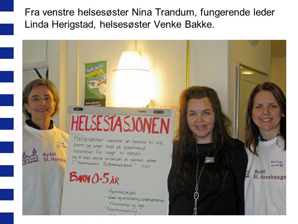 Fra venstre helsesøster Nina Trandum, fungerende leder Linda Herigstad, helsesøster Venke Bakke.