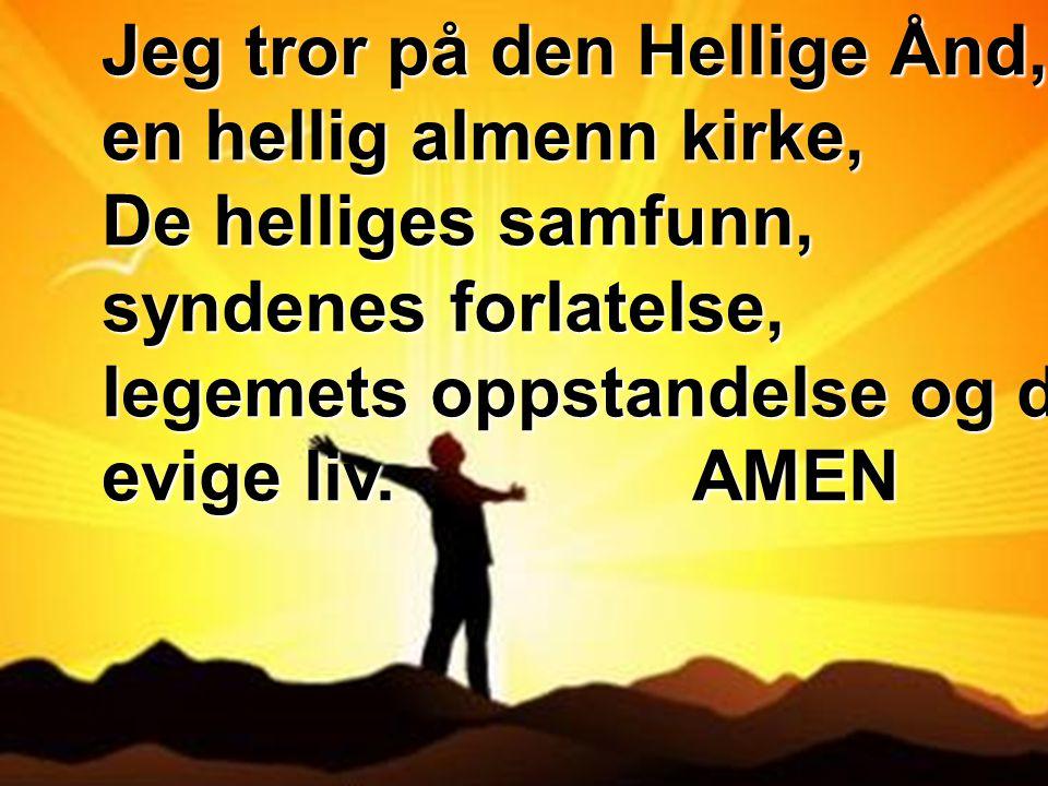 Jeg tror på den Hellige Ånd, en hellig almenn kirke, De helliges samfunn, syndenes forlatelse, legemets oppstandelse og det evige liv. AMEN