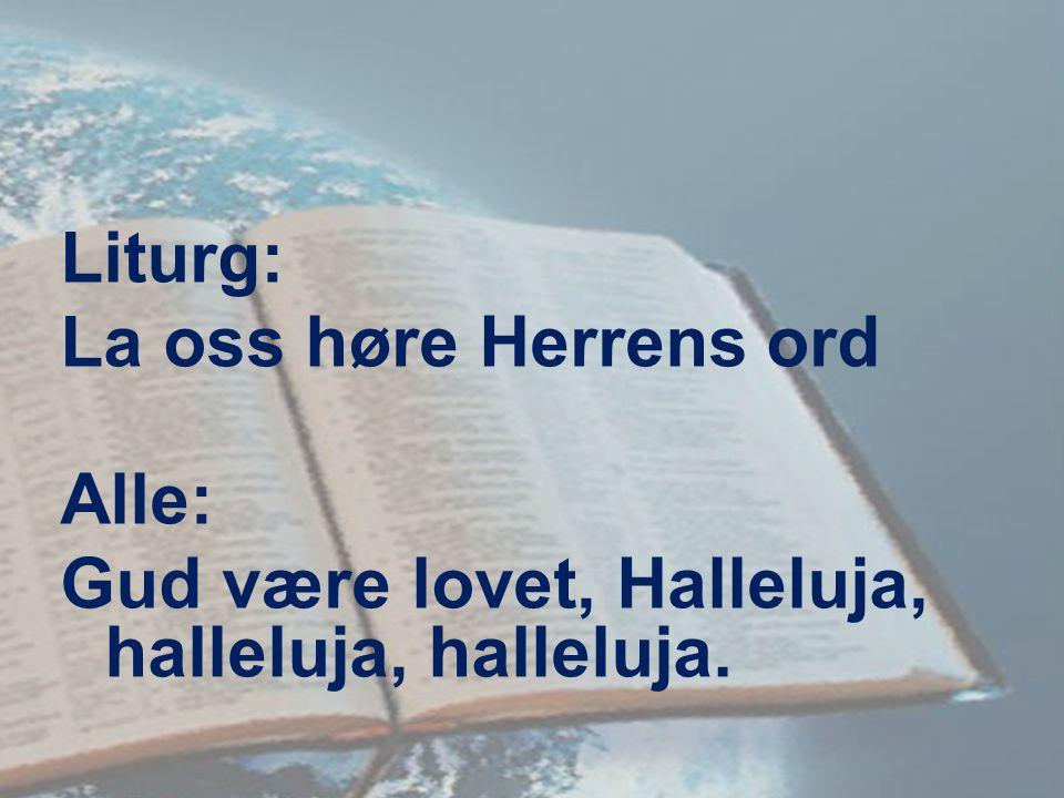 Liturg: La oss høre Herrens ord Alle: Gud være lovet, Halleluja, halleluja, halleluja.