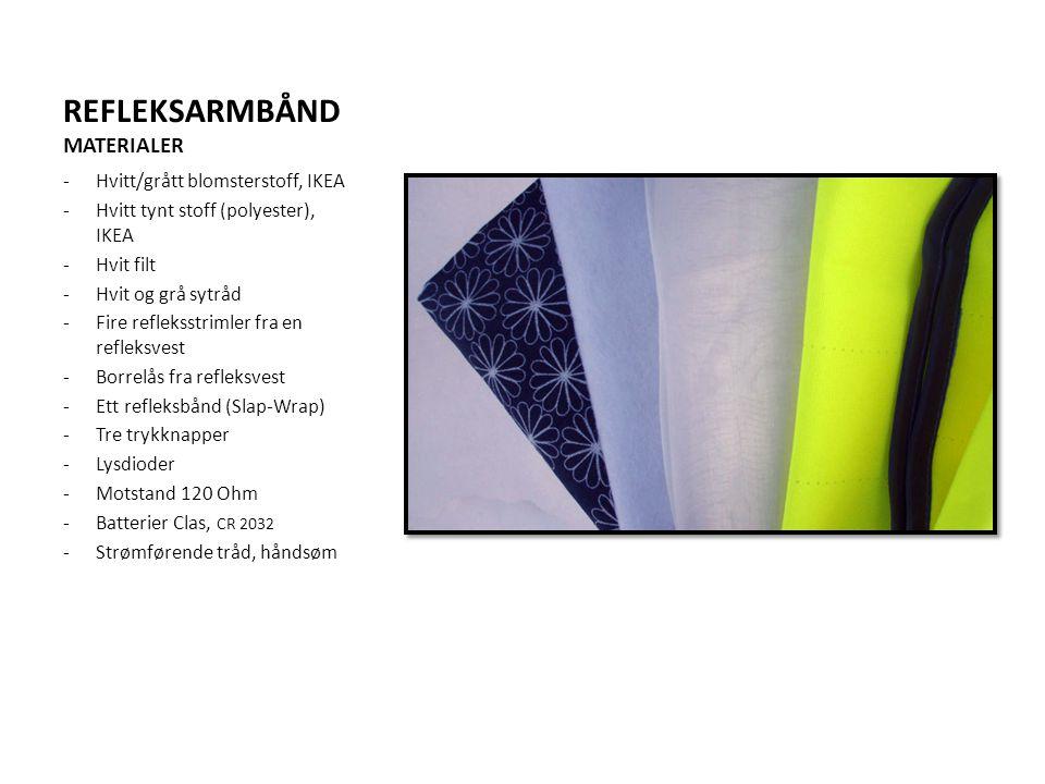REFLEKSARMBÅND MATERIALER -Hvitt/grått blomsterstoff, IKEA -Hvitt tynt stoff (polyester), IKEA -Hvit filt -Hvit og grå sytråd -Fire refleksstrimler fr