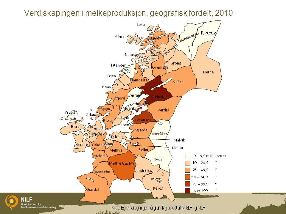 Verdiskapingen i melkeproduksjon, geografisk fordelt, 2010