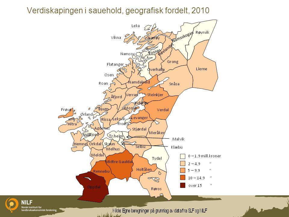 Verdiskapingen i sauehold, geografisk fordelt, 2010