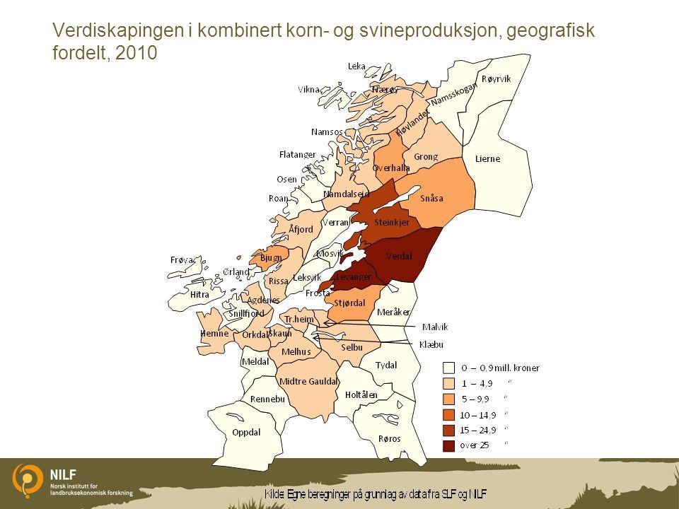 Verdiskapingen i kombinert korn- og svineproduksjon, geografisk fordelt, 2010