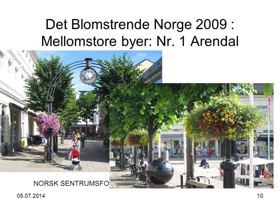 05.07.201410 Det Blomstrende Norge 2009 : Mellomstore byer: Nr. 1 Arendal NORSK SENTRUMSFORUM