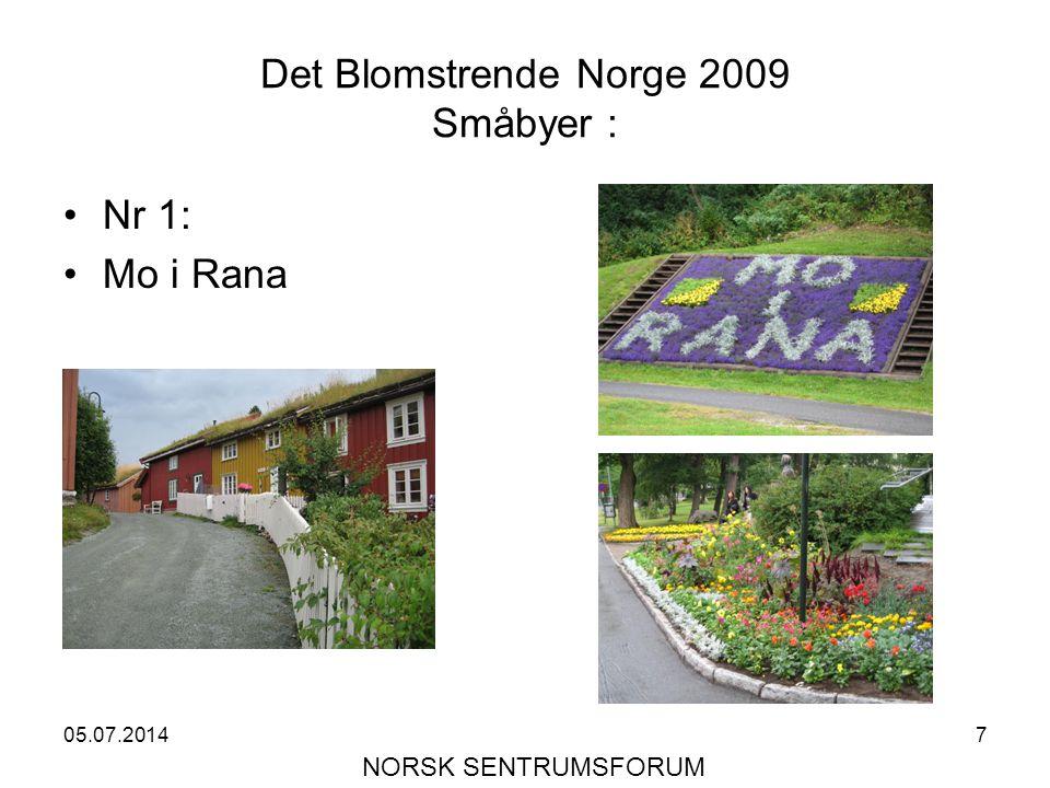 05.07.20147 Det Blomstrende Norge 2009 Småbyer : •Nr 1: •Mo i Rana NORSK SENTRUMSFORUM