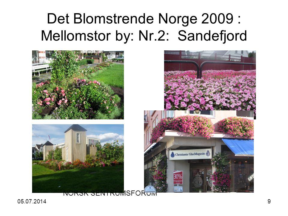 05.07.20149 Det Blomstrende Norge 2009 : Mellomstor by: Nr.2: Sandefjord NORSK SENTRUMSFORUM