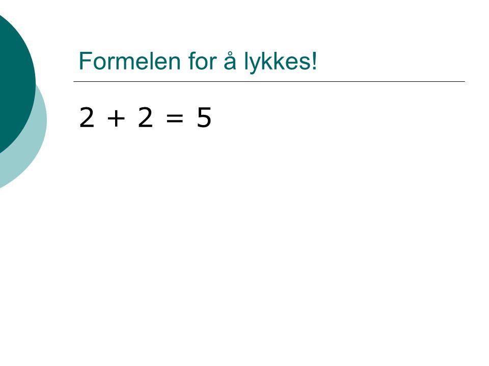 Formelen for å lykkes! 2 + 2 = 5