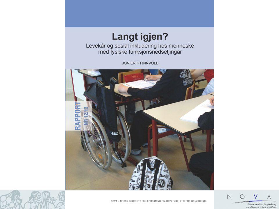 To undersøkelser: 1.Registeranalyse: –En sammenligning av utvalg med fysisk funksjonsnedsettelse og tilfeldig befolkningsutvalg i samme alder (25-45 år i 2010): –Hvor mange er yrkesaktive i de to gruppene.