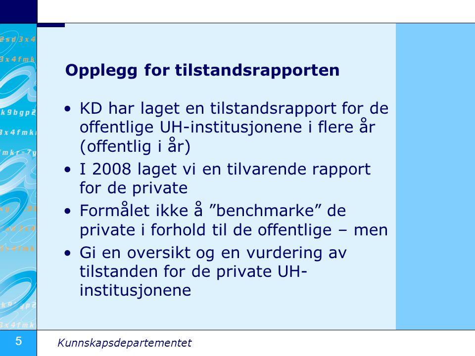 5 Kunnskapsdepartementet Opplegg for tilstandsrapporten •KD har laget en tilstandsrapport for de offentlige UH-institusjonene i flere år (offentlig i