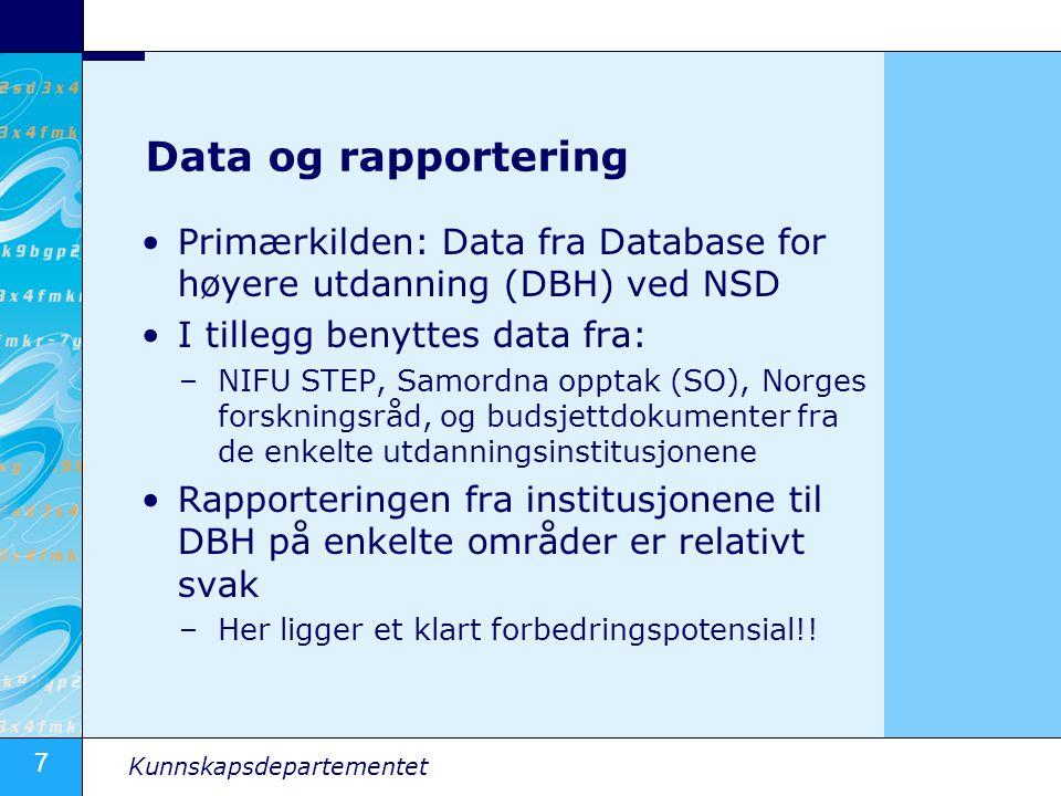 7 Kunnskapsdepartementet Data og rapportering •Primærkilden: Data fra Database for høyere utdanning (DBH) ved NSD •I tillegg benyttes data fra: –NIFU