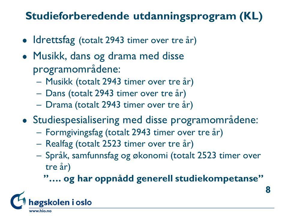 Studieforberedende utdanningsprogram (KL) l Idrettsfag (totalt 2943 timer over tre år) l Musikk, dans og drama med disse programområdene: –Musikk (tot